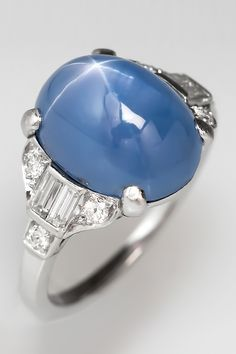 Love this stunning 1930's Art Deco star sapphire ring in platinum and diamonds.
