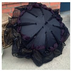 Items similar to Goth Umbrella Neo Victorian Style Lace Trimmed... ❤ liked on Polyvore featuring accessories, umbrellas, goth umbrella, gothic umbrella and victorian umbrella