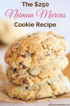 The famous $250 Neiman Marcus Cookie Recipe - made with ground oats, chocolate chips, grated chocolate and walnuts.