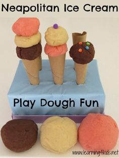 Make you own pretend play dough ice creams and ice cream shop.  Neapolitan Ice Cream Play Dough Fun (learning4kids)