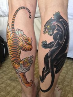 Traditional Panther And Tiger Tattoo On Both Leg Calf