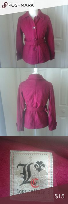 """Magenta coat 100% polyester  Length 26 Sleeve 25"""" Pit to pit:20"""" Love Culture Jackets & Coats Pea Coats"""