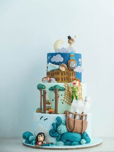 Peter Pan from London to Never-Never Land Fête Peter Pan, Peter Pan Cakes, Peter Pan Party, Crazy Cakes, Fondant Cakes, Cupcake Cakes, Cupcakes, Book Cakes, Character Cakes