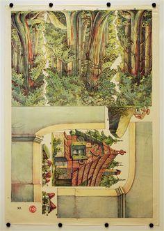 XII. [Bogen 12, Wald, Pfefferkuchenhaus. Münzberg`s Dekorationen für Familientheater für Puppen 18-25 cm]
