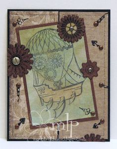 Prickley Pear Rubber Stamps: Gears Clearly Beautiful Stamp Set, Steampunk Ship, Gears Die