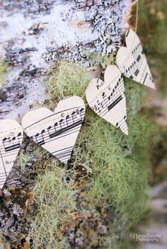 Music paper hearts & moss on birch :: The Swenglish Home Arts And Crafts, Paper Crafts, Diy Crafts, Valentine Day Love, Valentines, Bunting Banner, Banners, Music Heart, Music Paper