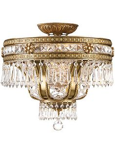 Regal Semi-Flush Crystal Ceiling Light In Aged Brass Finish Country Chandelier, Antique Chandelier, Chandelier Pendant Lights, Crystal Ceiling Light, Ceiling Light Fixtures, Ceiling Lights, Baroque, Closet Lighting, Elegant Chandeliers
