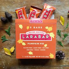 Pumpkin Pie Larabars are delicious bars made with just fruits, nuts & spices. These gluten-free treats are great in a lunch box or a snack to stash in the car or office. They are vegan, soy free, non-GMO, and kosher snacks out for a limited time only. Snacks For Work, Healthy Work Snacks, Kosher Snacks, Fruit And Nut Bars, Snack Brands, Lara Bars, Gluten Free Treats, Energy Bars, Pumpkin Spice