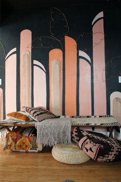 Art Deco inspired pastel accent wall