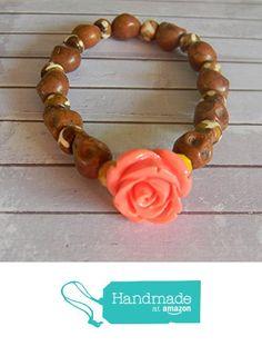 Brown Sugar Skull Beaded Stretch Bracelet with Carved Orange Orange Bead from Ambie's Bead Boutique https://www.amazon.com/dp/B015NA9AQ6/ref=hnd_sw_r_pi_dp_Oqclwb9KHJ01V #handmadeatamazon