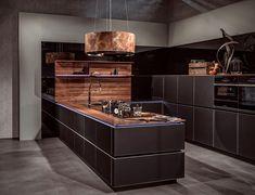 The Most Popular Modern Kitchen Area Style Ideas - walmartbytes Kitchen Showroom, Kitchen Interior, New Kitchen, Kitchen Dining, Kitchen Decor, Black Kitchens, Cool Kitchens, Bathroom Lighting Design, Luxury Kitchen Design