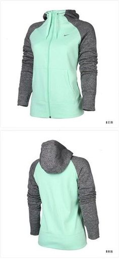 jacket green grey hoodie hoodie mint nike mint green and gray zip up  If middle was gold or blue... Softball hoodie