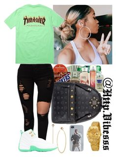A fashion look from November 2016 featuring graphic shirts, studded backpacks and hoop earrings. Browse and shop related looks. Swag Outfits For Girls, Lit Outfits, Jordan Outfits, Teenage Girl Outfits, Cute Outfits For School, Chill Outfits, Teen Fashion Outfits, Cute Casual Outfits, Teenager Outfits