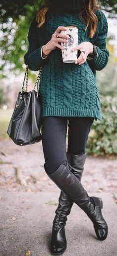 #winter #fashion / green knit + leather boots