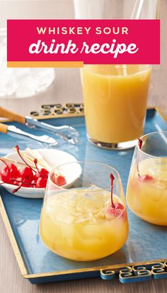 Whiskey Sour Drink Recipe – Looking for a simple and delicious cocktail to serve up at your holiday party? Check out this combination of whiskey, lemonade, and maraschino cherries. Party Drinks Alcohol, Alcohol Drink Recipes, Liquor Drinks, Fancy Drinks, Alcoholic Beverages, Christmas Drinks, Holiday Drinks, Summer Drinks, Winter Drinks