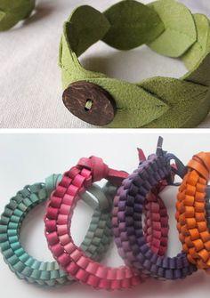 Little Paper Dog: DIY leather bracelets    Make leaf bracelet out of felt for fairy fest