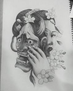 Japanese Girl Tattoo, Japanese Mask Tattoo, Chinese Dragon Tattoos, Japanese Tattoo Designs, Oni Mask Tattoo, Hanya Tattoo, Demon Tattoo, Geisha Tattoo Design, Medusa Tattoo Design