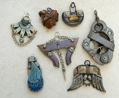 awesome abstract polymer clay pendants!!!