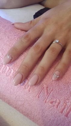 Nude rose wedding almond oval nails with swarovski crystals and pearls