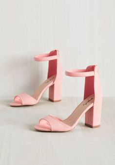 Creme de la Feminine Block Heel. Could these pastel pink heels be the most superior pair in your footwear collection? #pink #prom #wedding #bridesmaid #modcloth