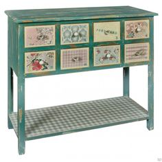 French Distressed Patchwork Console Table
