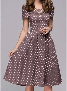 PolkaDot Short Sleeves A-line Knee Length Casual/Elegant Dresses - D. - - PolkaDot Short Sleeves A-line Knee Length Casual/Elegant Dresses – Dresses – veryvoga Source by Women's Dresses, Casual Dresses, Fashion Dresses, Short Sleeve Dresses, Short Sleeves, Skater Dresses, Fashion 2018, Dresses Online, Vintage Dresses