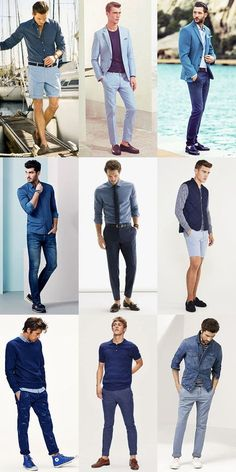 5 men's key look for 2015 spring/summer: all-blue outfit Stylish Mens Outfits, Casual Outfits, Men Casual, Fashion Outfits, Blue Outfits, Fashion Styles, Casual Wear, Fashion Trends, Mens Photoshoot Poses