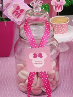 Pink Minnie Mouse birthday party candy! See more party planning ideas at CatchMyParty.com!