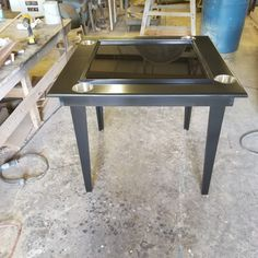 Black domino table with cupholders, tapered legs and epoxy playing surface. Domino Table, Table Games, Outdoor Furniture, Outdoor Decor, Epoxy, Entryway Tables, Surface, Diy, Black