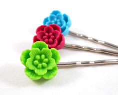 Bright Colors Bobby Pin Set for Teen and Tween Girls Lime Green Raspberry Pink Bright Blue Cute Hair Pins Teen Accessories Gifts for Tweens by foreverandrea on Etsy
