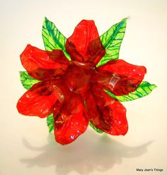 Upcycled Red and Pink Flower Made of Plastic by MaryJeansThings