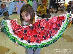 Watermelon made out bottle caps. Michelle Stitzlein. www.artgrange.com
