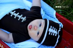 """infant photography ~ #4mths #football #baby boy ~ by """"jlm photography"""""""