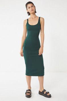 bdf2cb7cf1af Slide View: 2: UO Bella Ribbed Knit Bodycon Midi Dress Green Midi Dress,