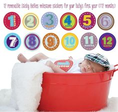 "So cute! 12 removable Sticky Bellies milestone stickers for baby's first year (1-12 months.) Stickers appear to be sewn-on appliques when stuck on your baby's onesie or t-shirt. ""Sew Cute"" Sticky Bellies are gender neutral, ""Sew Adorable"" are sweet colors for girls and ""Sew Handsome"" are 'sewn' plaid for boys.     These stickers make a great gift for a new mom or mom-to-be!"