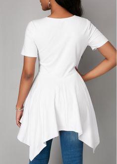50c1b9c5967 White Asymmetric Hem Short Sleeve Blouse