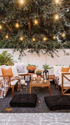 Cotton Canvas Tufted Square Floor Cushions via BHG Live Better influencer @jennasuedesign. #autumn #fall #backyard #outdoor #decor #decoratingideas #fallparty #fallideas #autumnactivities #gamenight