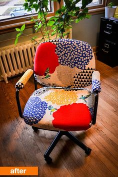 These office chairs were functional — but certainly not very motivating with their boring upholstery color and bland gray frame color