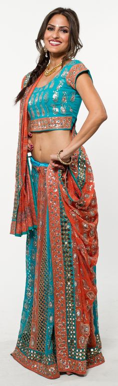Blush Orange & Turquoise Chaniya Choli