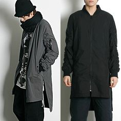 Remember Click Ruched Sleeves Long Jacket BLACK GRAY ONE SIZE Korean Wear #RememberClick #BasicJacket