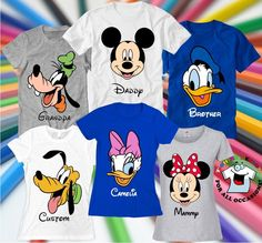 Disney shirts Custom Disney family shirts Personalized Disney World Mickey Minnie Donald Daisy Goofy Pluto Family celebration t-shirts Matching Disney Shirts, Disney Shirts For Family, Disney Family, Couple Shirts, Family Shirts, Kids Shirts, Mickey Hands, Goofy Disney, Family Outfits