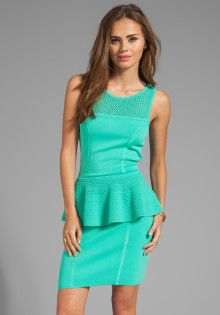 Milly May Knits Nicole Peplum Dress in Green - Lyst