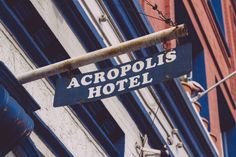 Metal sign for the Acropolis Hotel in Portland, OR