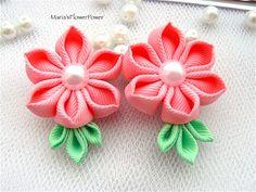 Hecho a mano Kanzashi chicas damas mujeres pelo clips arcos apretones diapositivas, comprar en Reino Unido, envío en todo el mundo, accesorios de pelo de flor de tela regalo