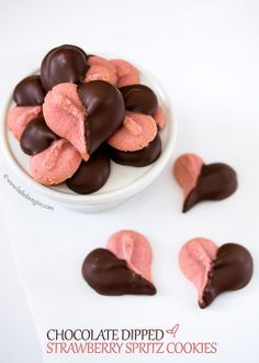 Chocolate dipped strawberry spritz cookies