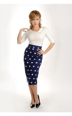 A perfectly pin up pencil skirt, and a fun way to be sophisticated! :: Polka Dot Pencil Skirt:: Vintage Fashion :: Retro Style:: Pin Up Clothing