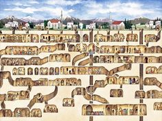 The underground city of Derinkuyu, Turkey: This incredible city of underground homes, churches, wine cellars, food stores, and other buildings is eleven stories deep and can hold 40,000 people. It was built almost three thousand years ago, and you can go and visit it. The pictures at the link are amazing.