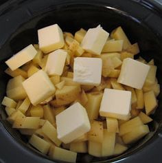 Mashed Potatoes in a Crock Pot – 5 lbs potatoes, 1 c water, 1 c butter, 1 Tbs salt, ground pepper, 1⅓ c milk