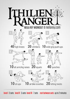 Ithilien Ranger Workout: No equipment, looks simple enough, plus LotR, who could pass that up?