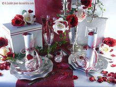 Decoracion mesa matrimonio / boda - rosas rojas y blancas